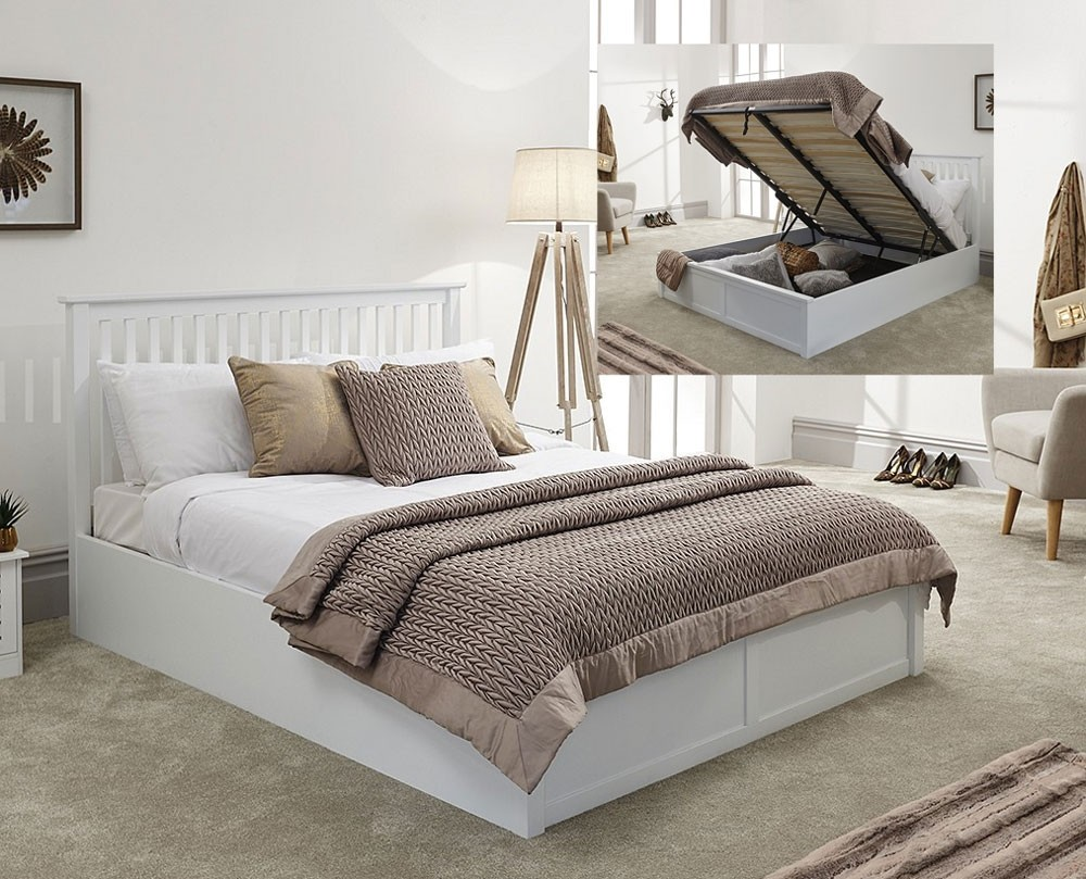 Connect White Ottoman Bed Frame
