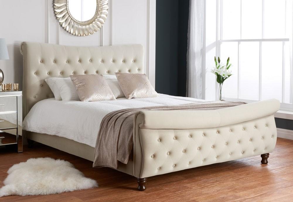 Danish Stone Sleigh Bed Frame