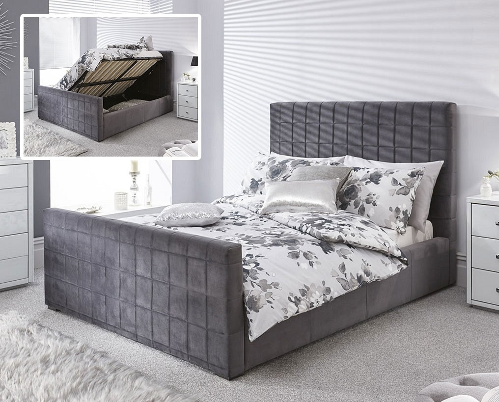 Delta Pewter Ottoman Bed Frame