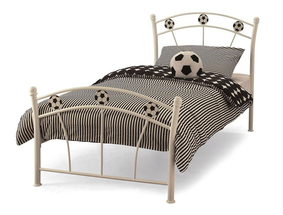 Soccer White Small Single Bed Frame