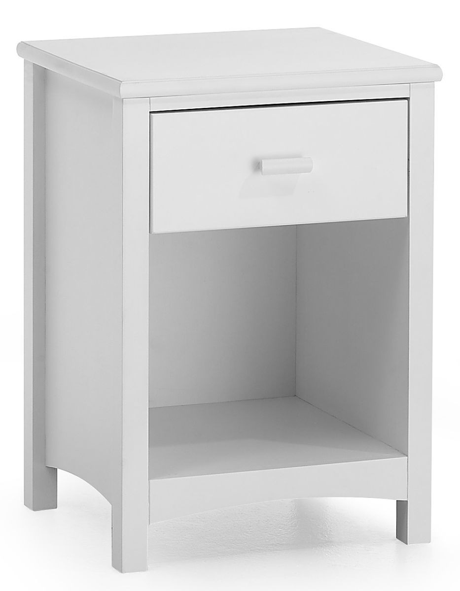 Eleanor Opal White 1 Drawer Bedside