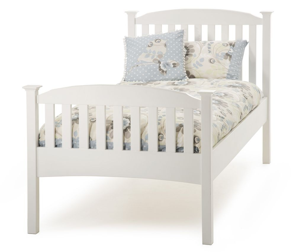Helena Opal White High Foot Single Bed Frame