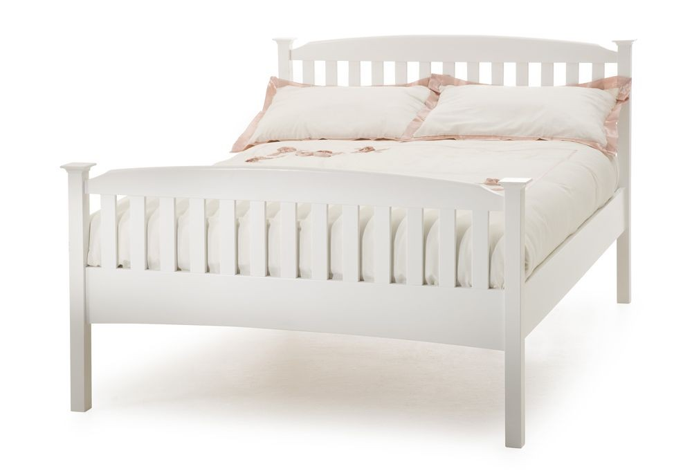 Helena Opal White High Foot Double Bed Frame