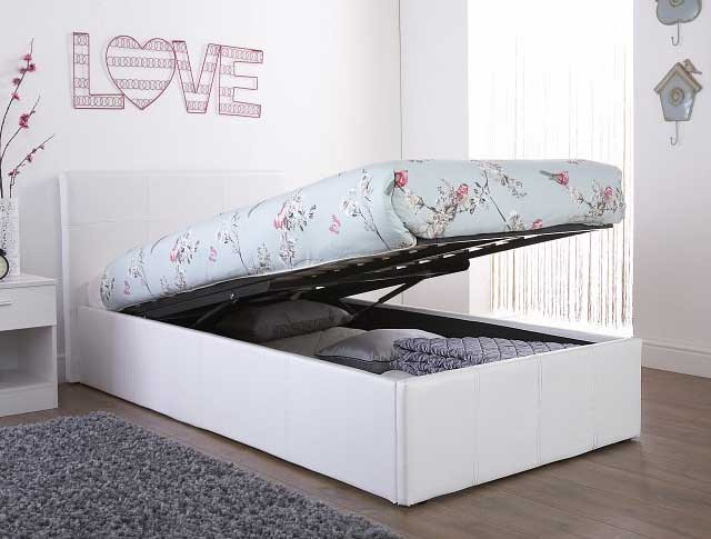 End Lift Ottoman Storage White Single Bed Frame