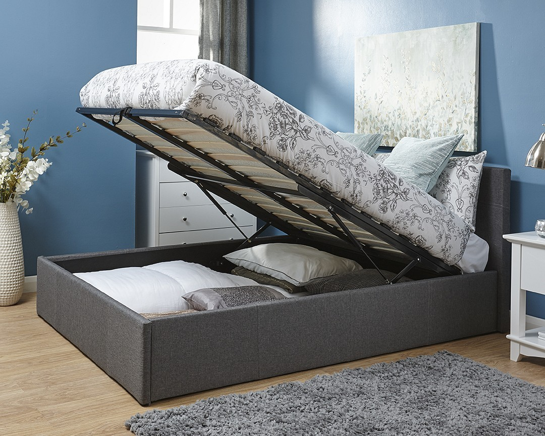 End Lift Ottoman Storage Silver Grey Double Bed Frame
