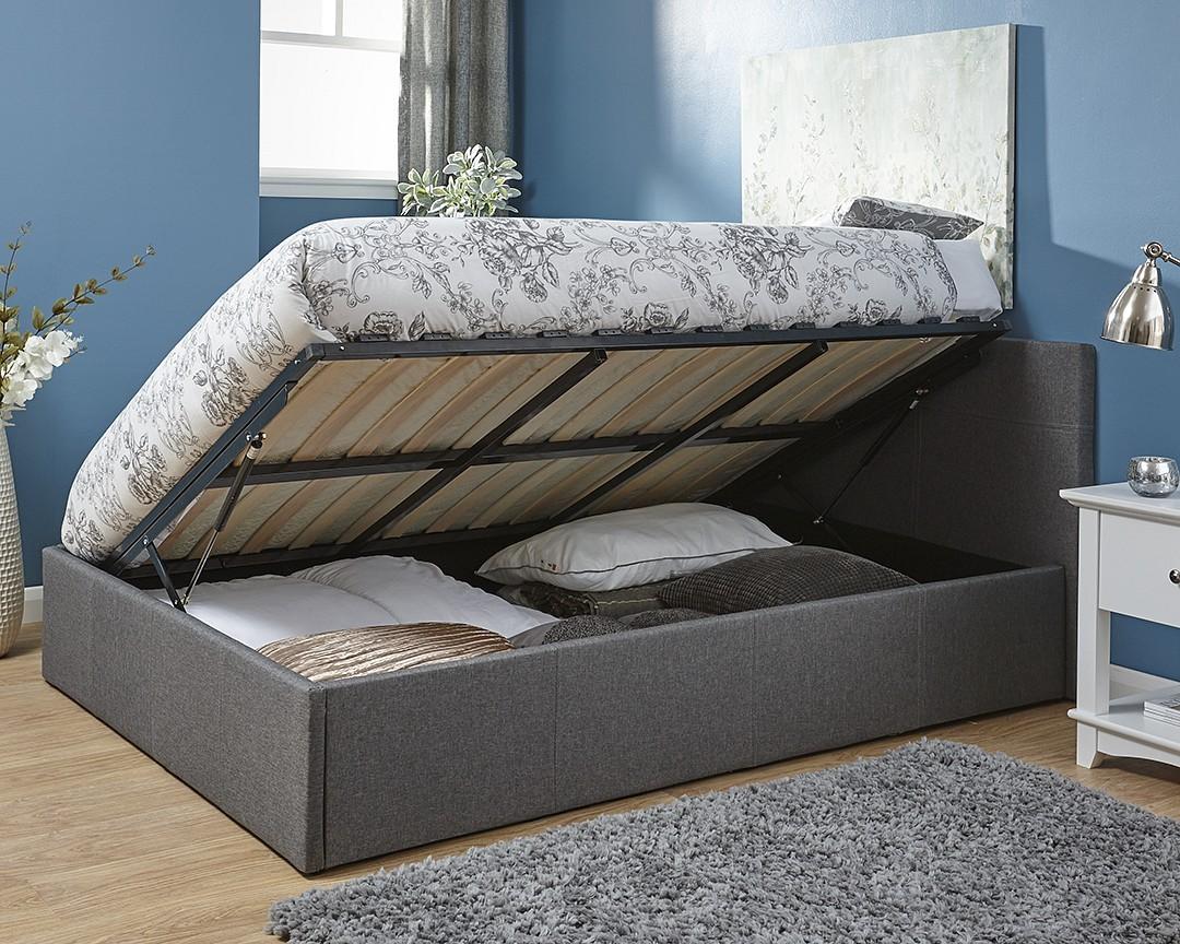 Side Lift Ottoman Storage Silver Grey Three Quarter 3 4 Bed Frame