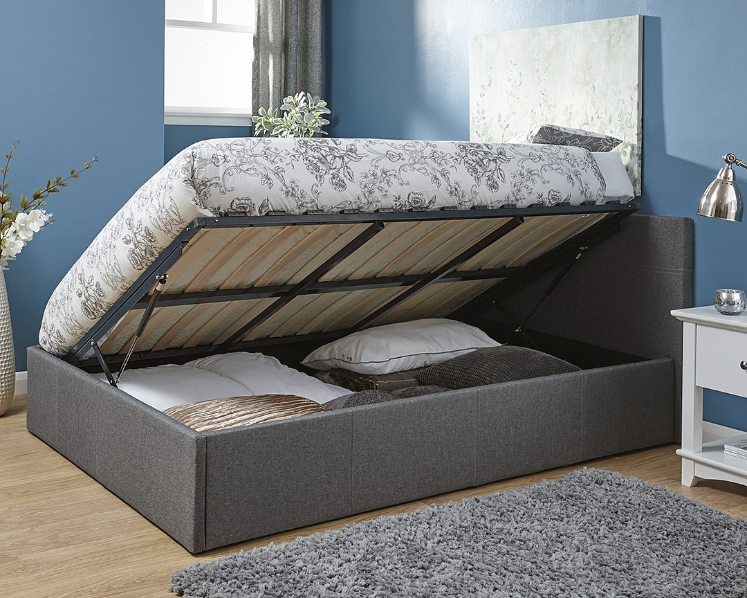 Side Lift Ottoman Storage Silver Grey Double Bed Frame