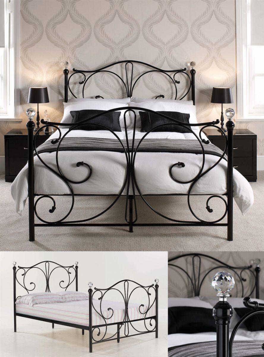 Florentine Black/Krystal Kingsize Bed Frame