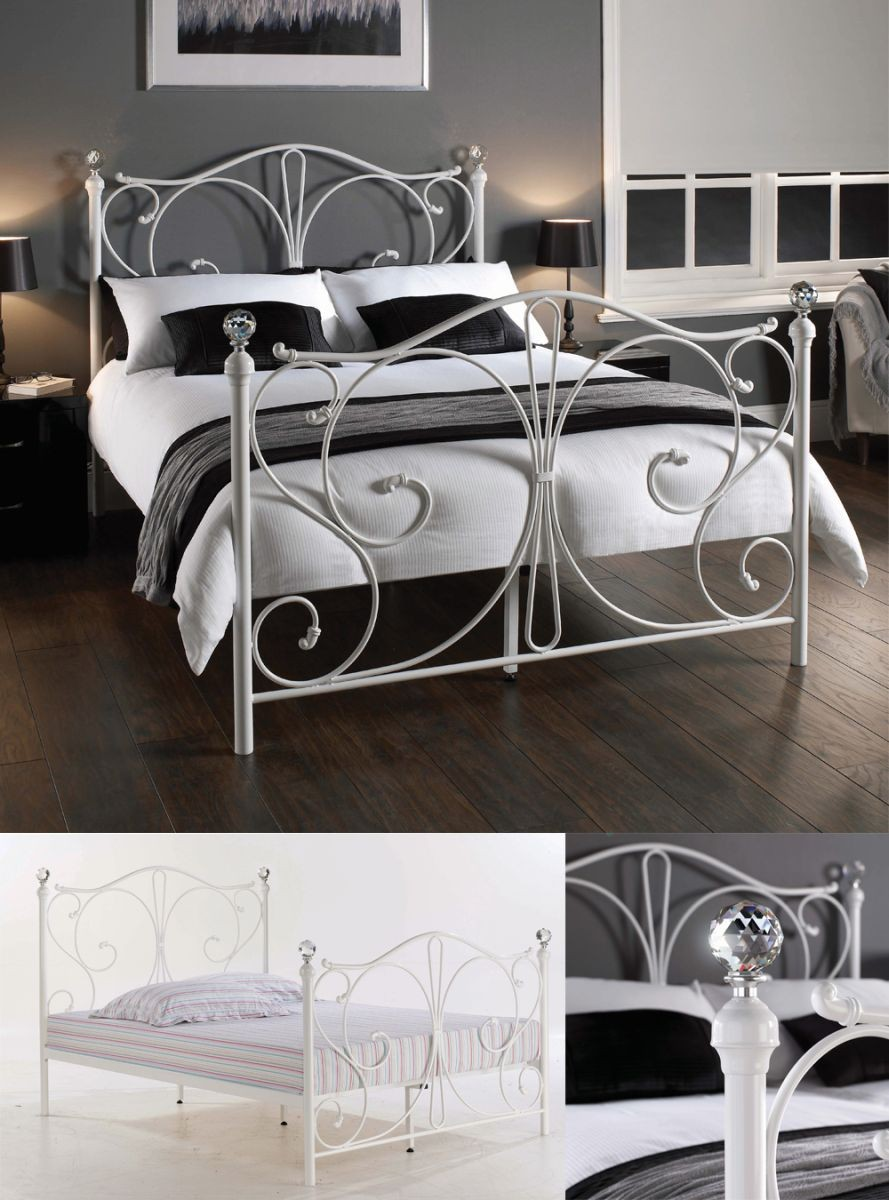 Florentine White/Krystal Double Bed Frame