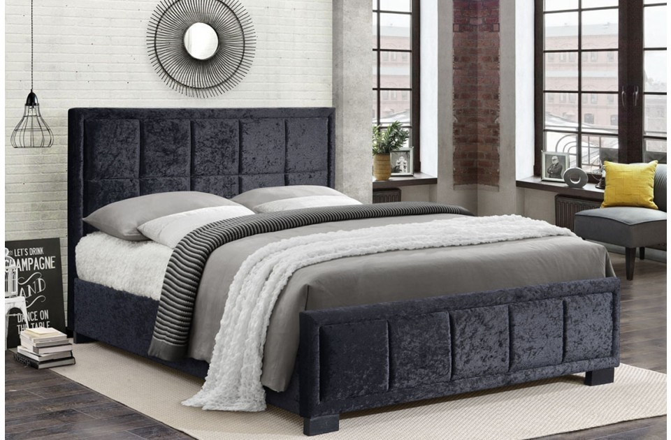 Hann Black Crushed Velvet King Size Bed Frame