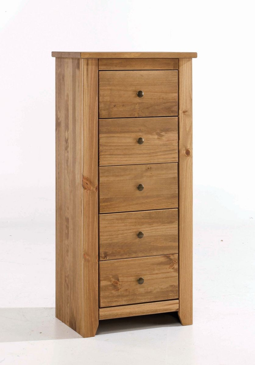 Havana Rustic Pine 5 Drawer Narrow Chest