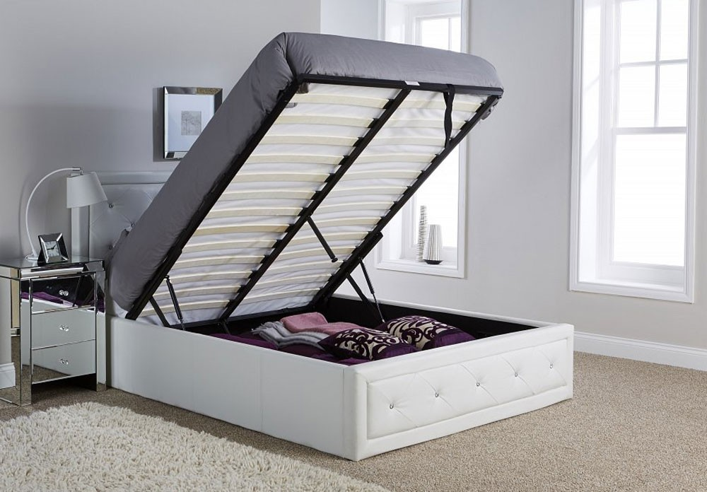 Holly White Ottoman Storage Bed Frame
