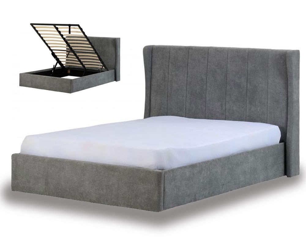 Dark Grey Hotel Ottoman Bed Frame