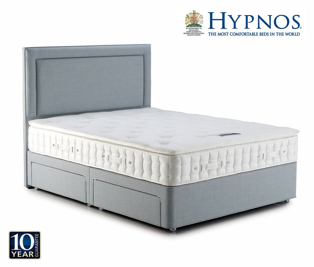 Hypnos pearl pillow top kingsize divan bed kingsize for Best divan beds