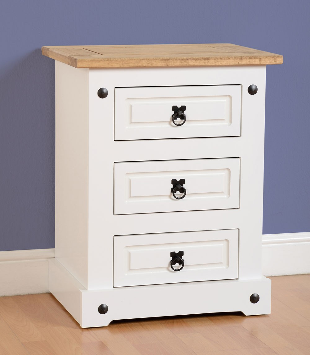 Corona White Bedside Chest