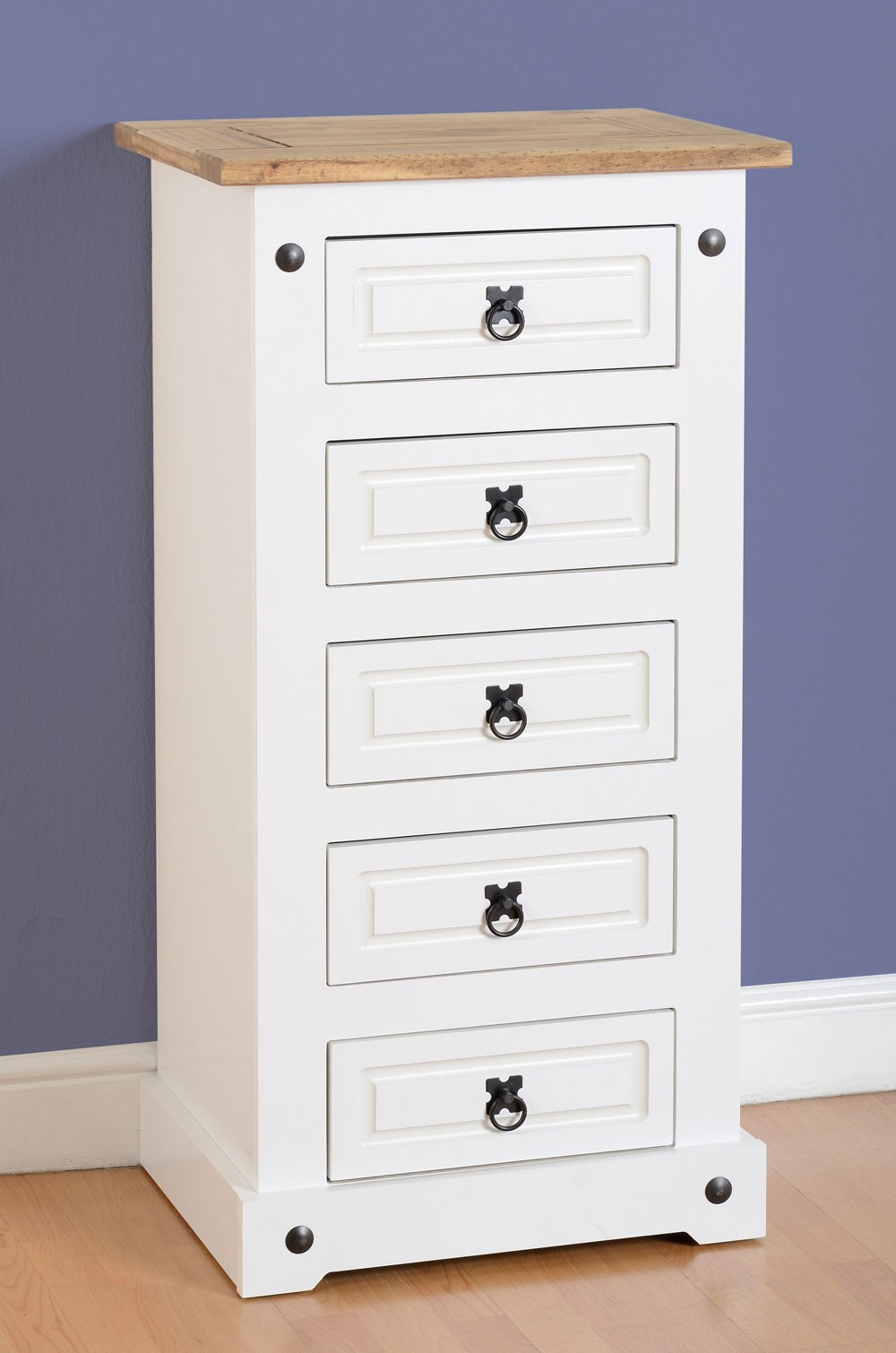 Corona White 5 Drawer Chest