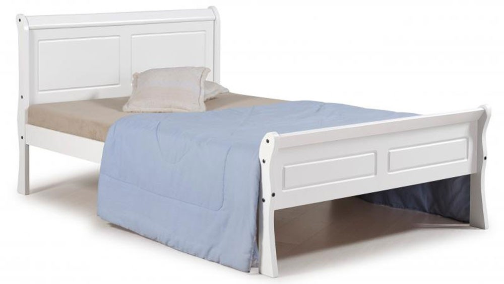 Georgina White King Size Sleigh Bed Frame
