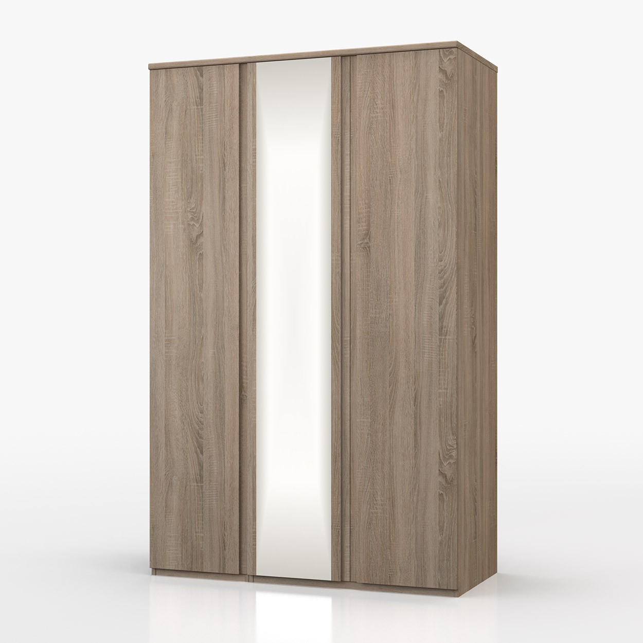 Avenue Truffle Oak 3 Door Wardrobe With Mirror