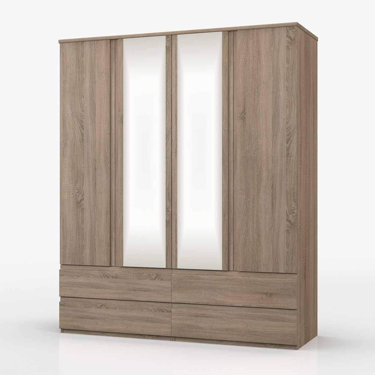 Avenue Truffle Oak 4 Door Combi Wardrobe With Mirror