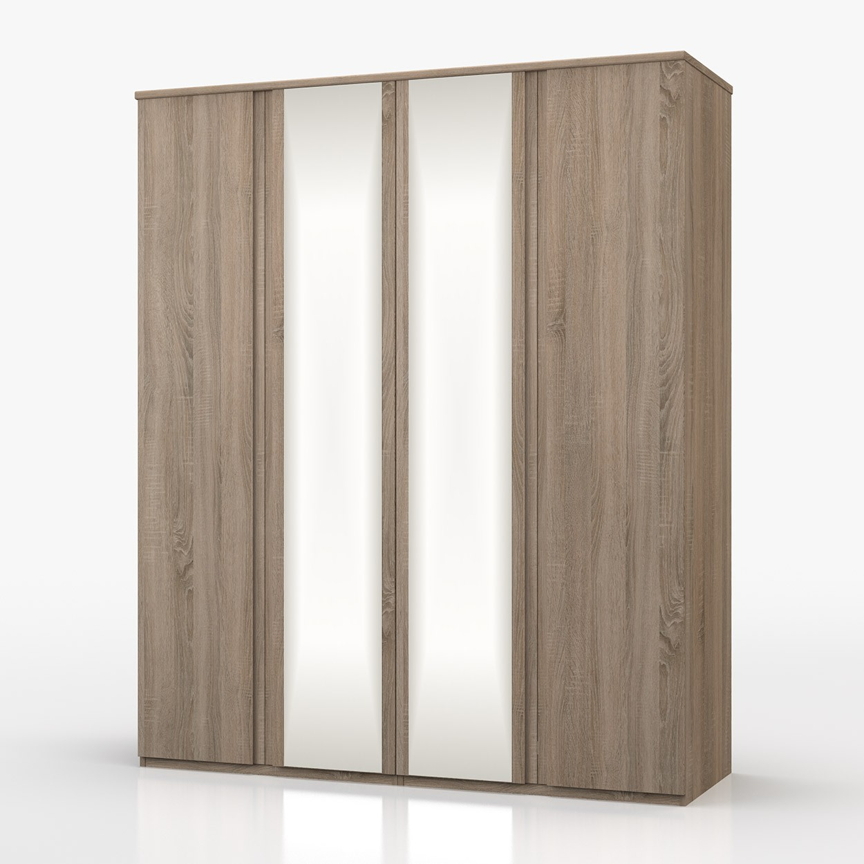 Avenue Truffle Oak 4 Door Wardrobe With Mirror