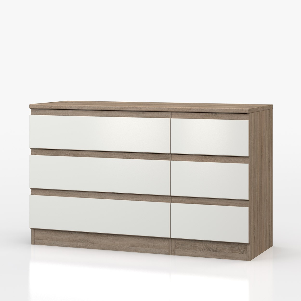 Avenue Truffle Oak And White Gloss 3 Drawer Double Chest