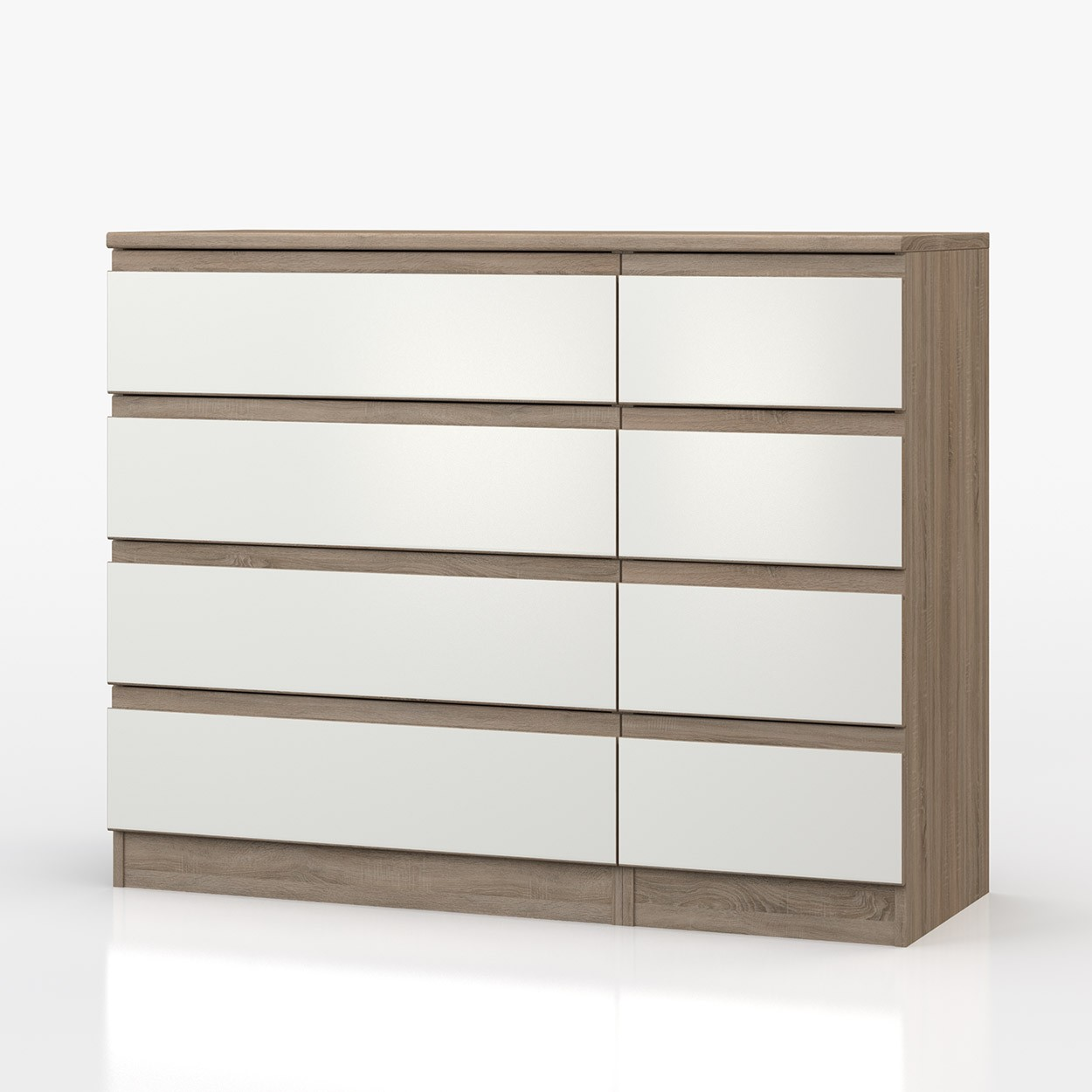 Avenue Truffle Oak And White Gloss 4 Drawer Double Chest
