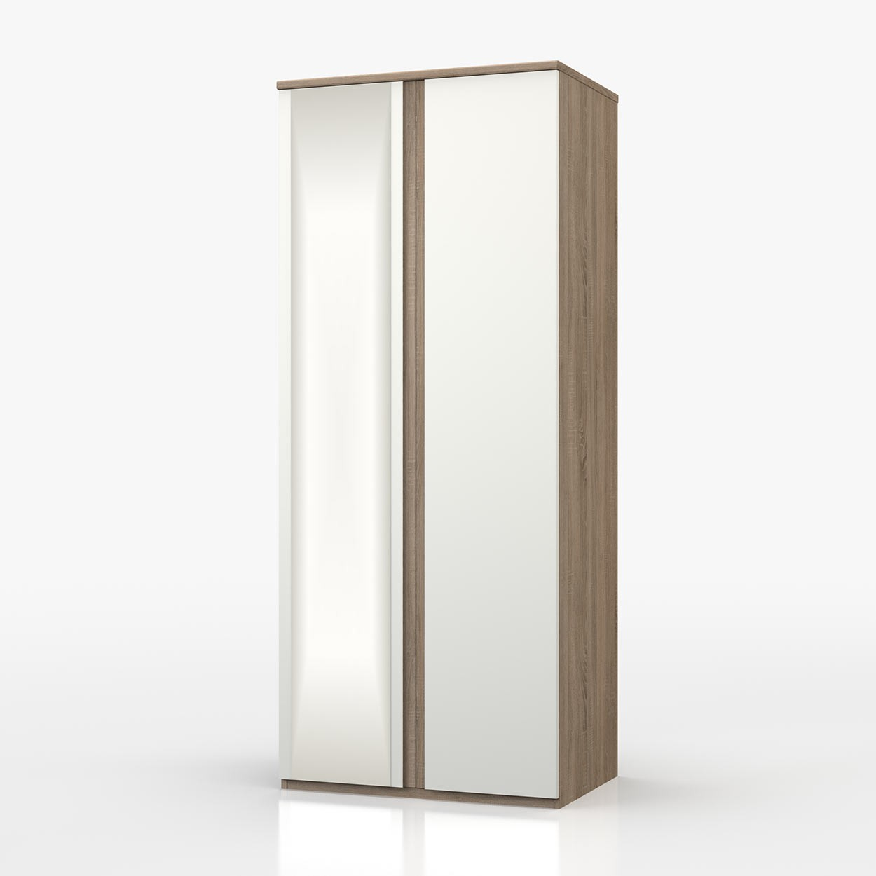 Avenue Truffle Oak And White Gloss 2 Door Robe With Mirror