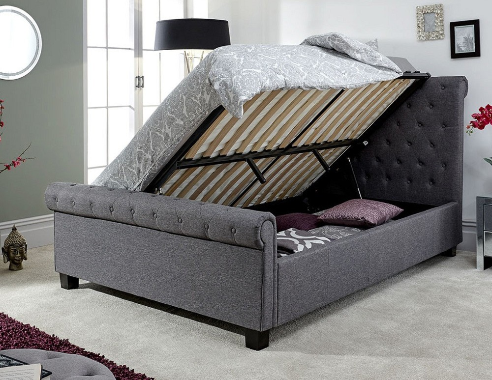 Lyla Charcoal Ottoman Bed Frame