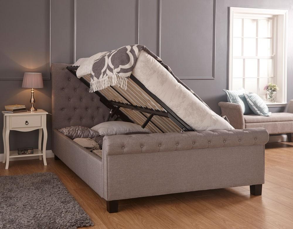 premium selection a7de3 f2a7c Lyla Silver Hopsack Double Ottoman Storage Bed Frame