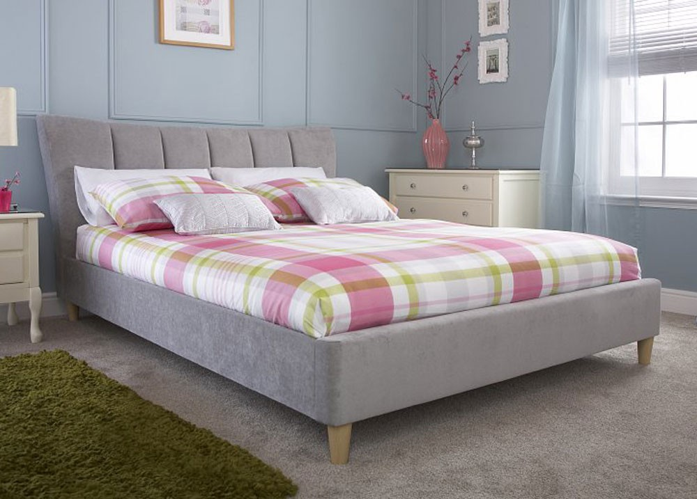 Lucy Silver Chenille Bed Frame