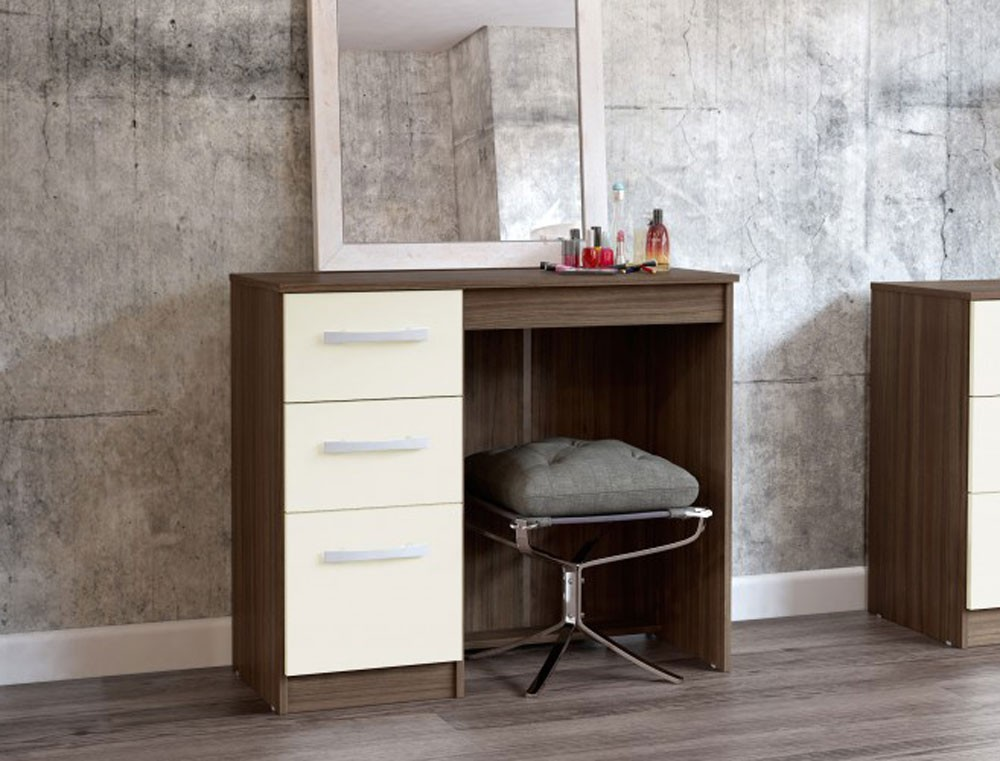 Links Walnut/ High Gloss Cream 3 Drawer Dressing Table