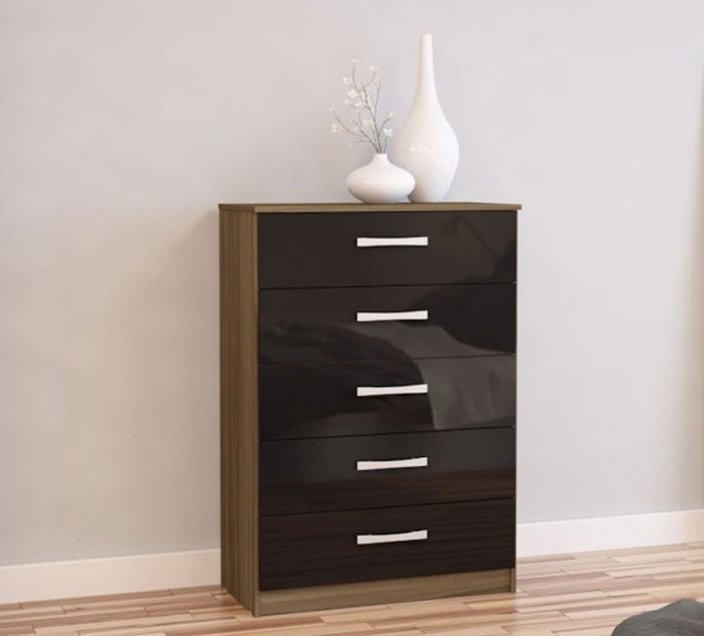 Links Walnut/ High Gloss Black 5 Drawer Chest