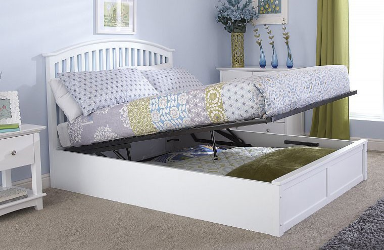 Madrillo White Ottoman Storage Bed Frame