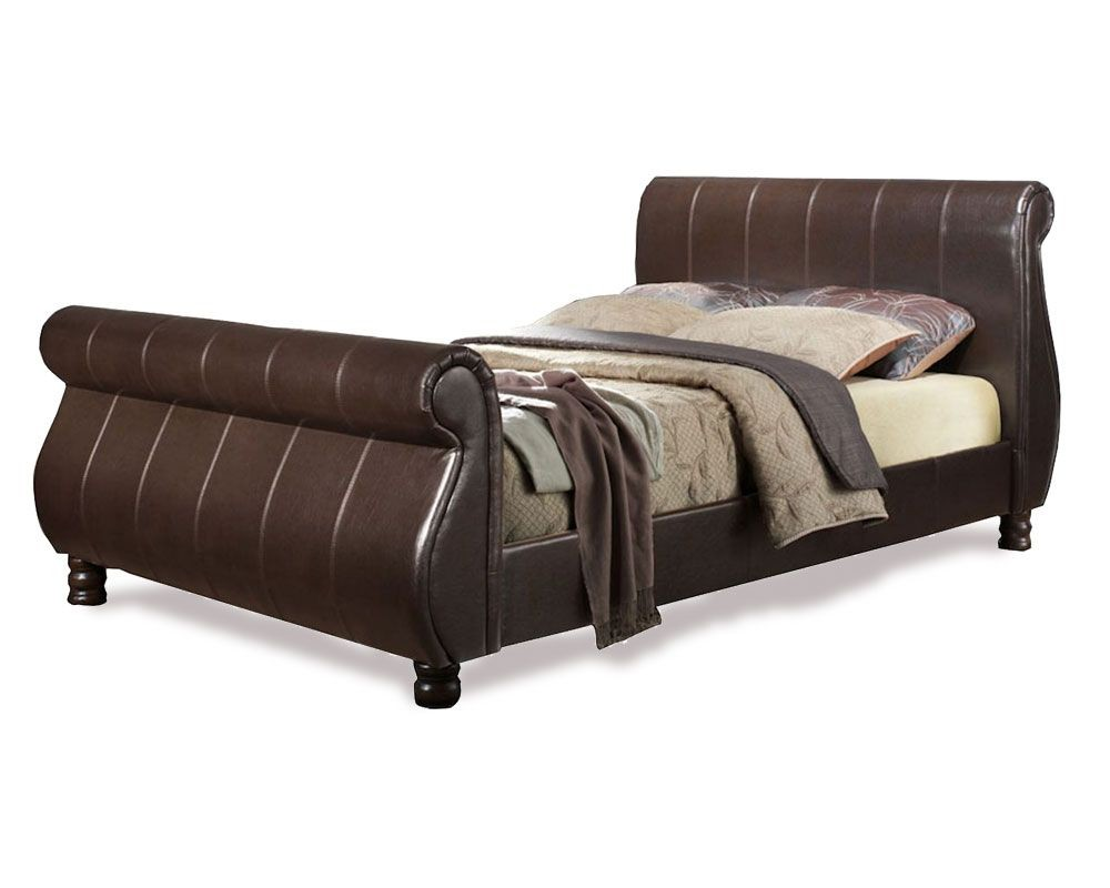 Marseilles Brown Super Kingsize Sleigh Bed Frame