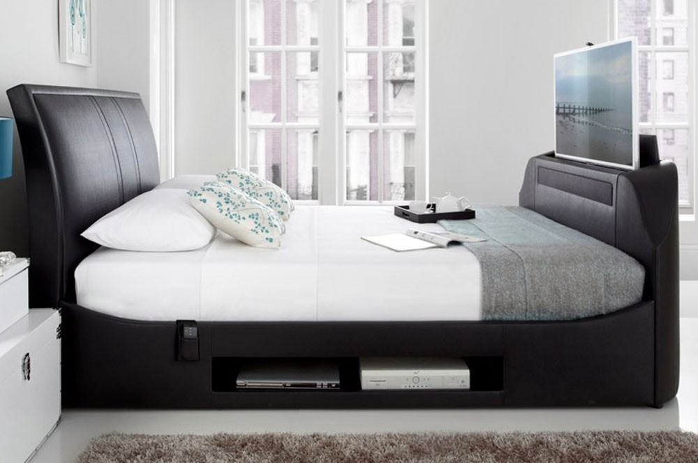 Max Black Leather Bed Frame