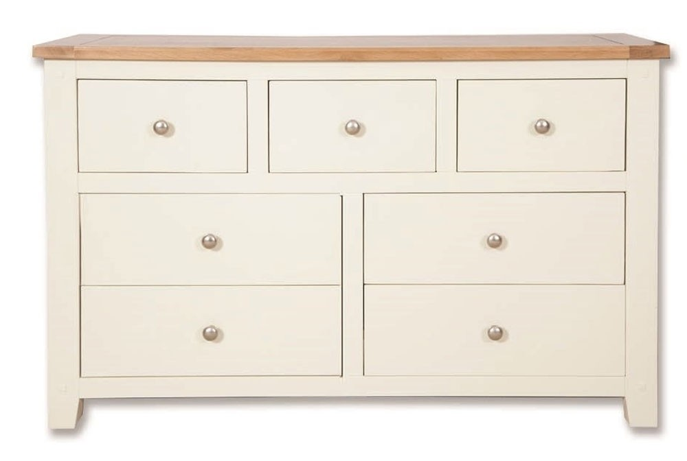 Melrose Ivory 7 Drawer Wide Chest