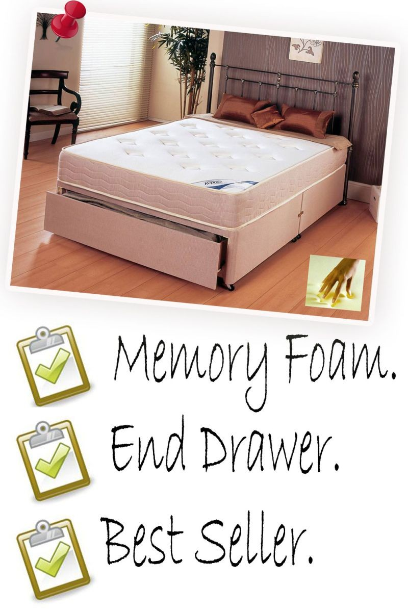 Memory Plus Kingsize End Drawer Divan Bed