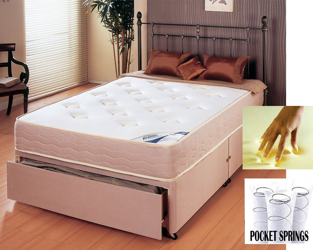 Memory Pocket 600 Double End Drawer Divan Bed