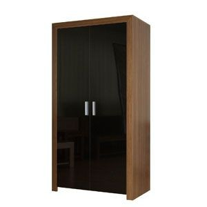 Milano Walnut/ High Gloss Black 2 Door Robe