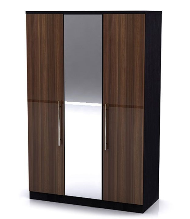Modal High Gloss Walnut 3 Door Mirror Robe