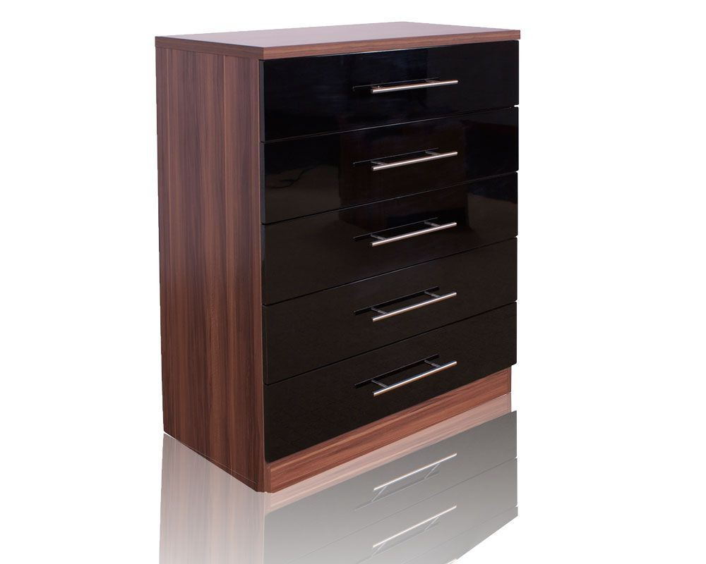 Modal Walnut/ High Gloss Black 5 Drawer Chest