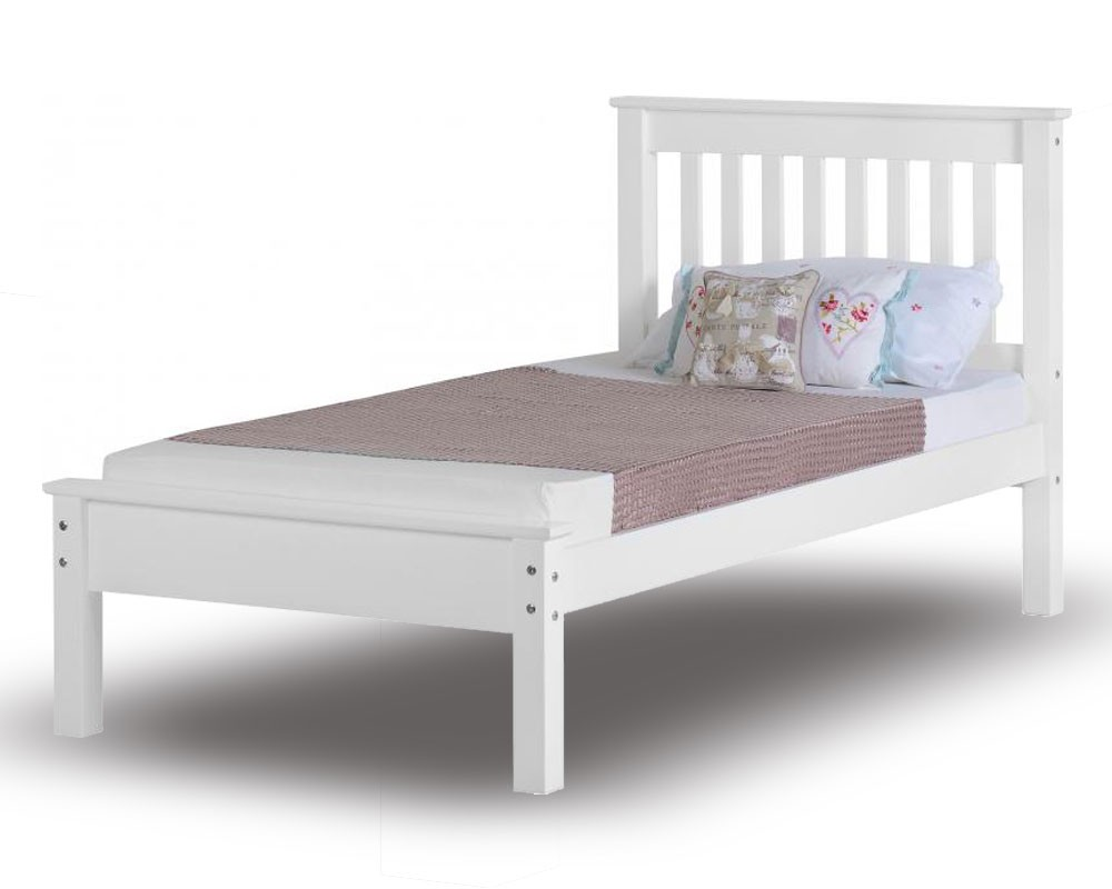 Monty White Low Foot Single Bed Frame