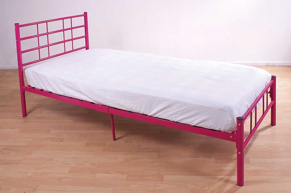morgan pink single bed frame