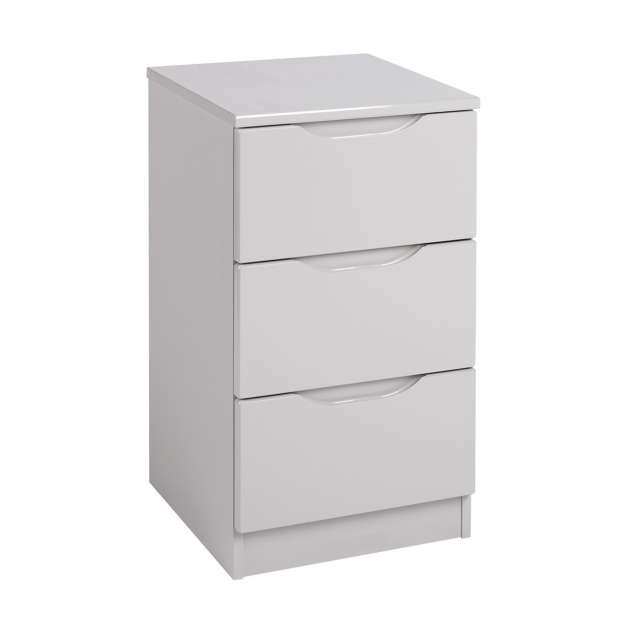 Cashmere Grey High Gloss 3 Drawer Bedside