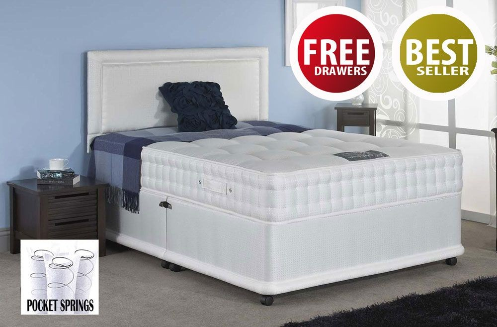 Romeo Pocket 1500 Double 4 FREE Drawer Divan Bed