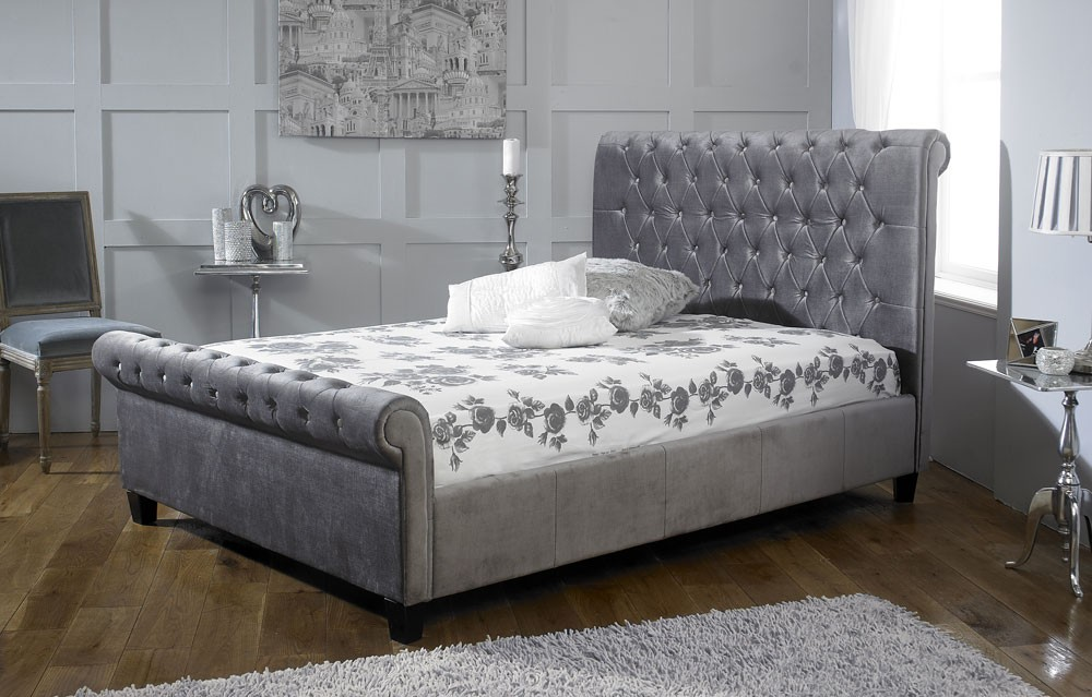Orbital Plush Silver Velvet Bed Frame