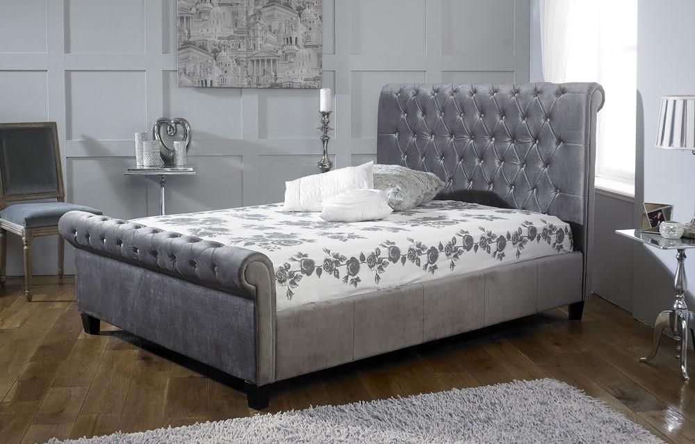 Orbital Plush Silver Velvet Bed Frame