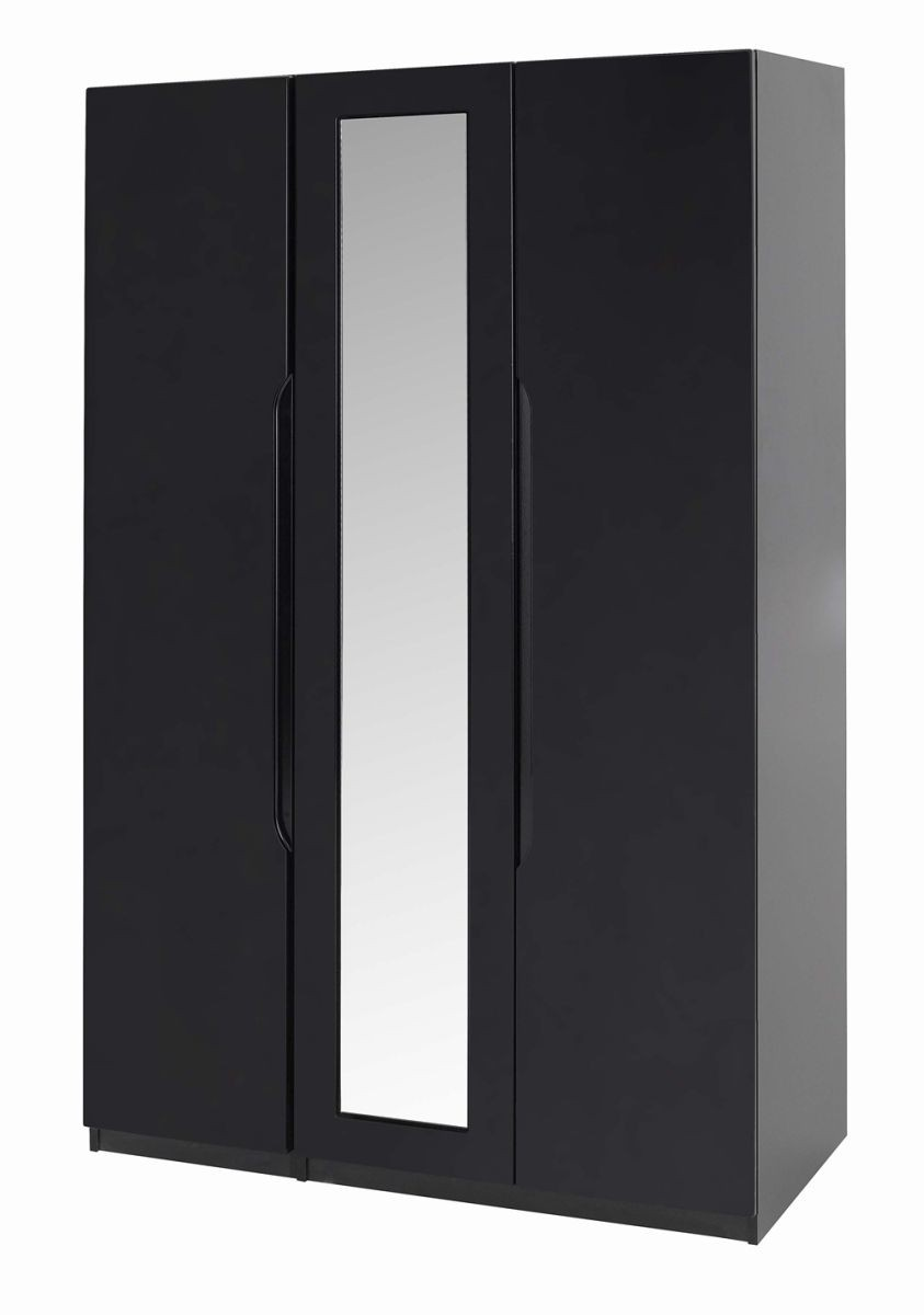 Orient Black Gloss 3 Door Robe With Mirror