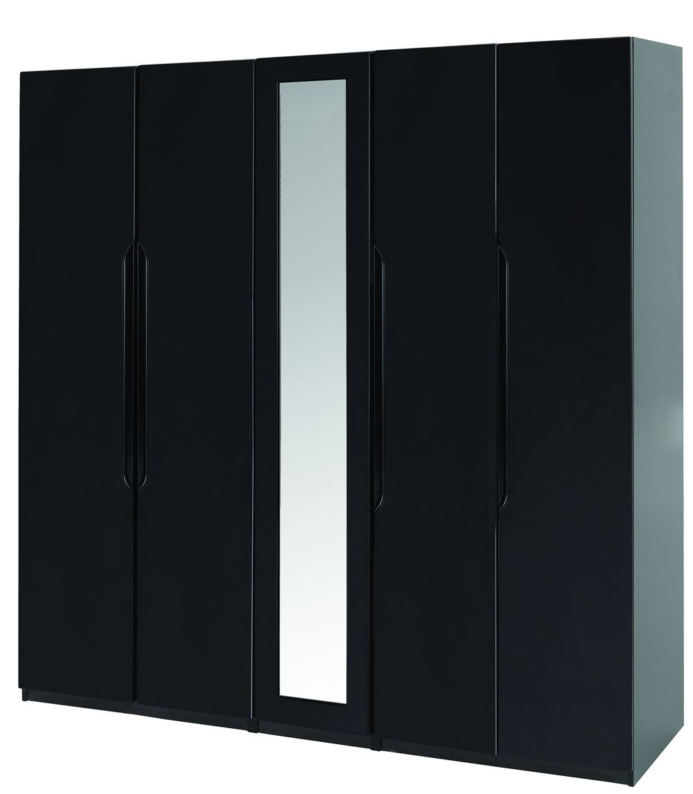 Orient Black Gloss Super Size 5 Door Robe With Mirror
