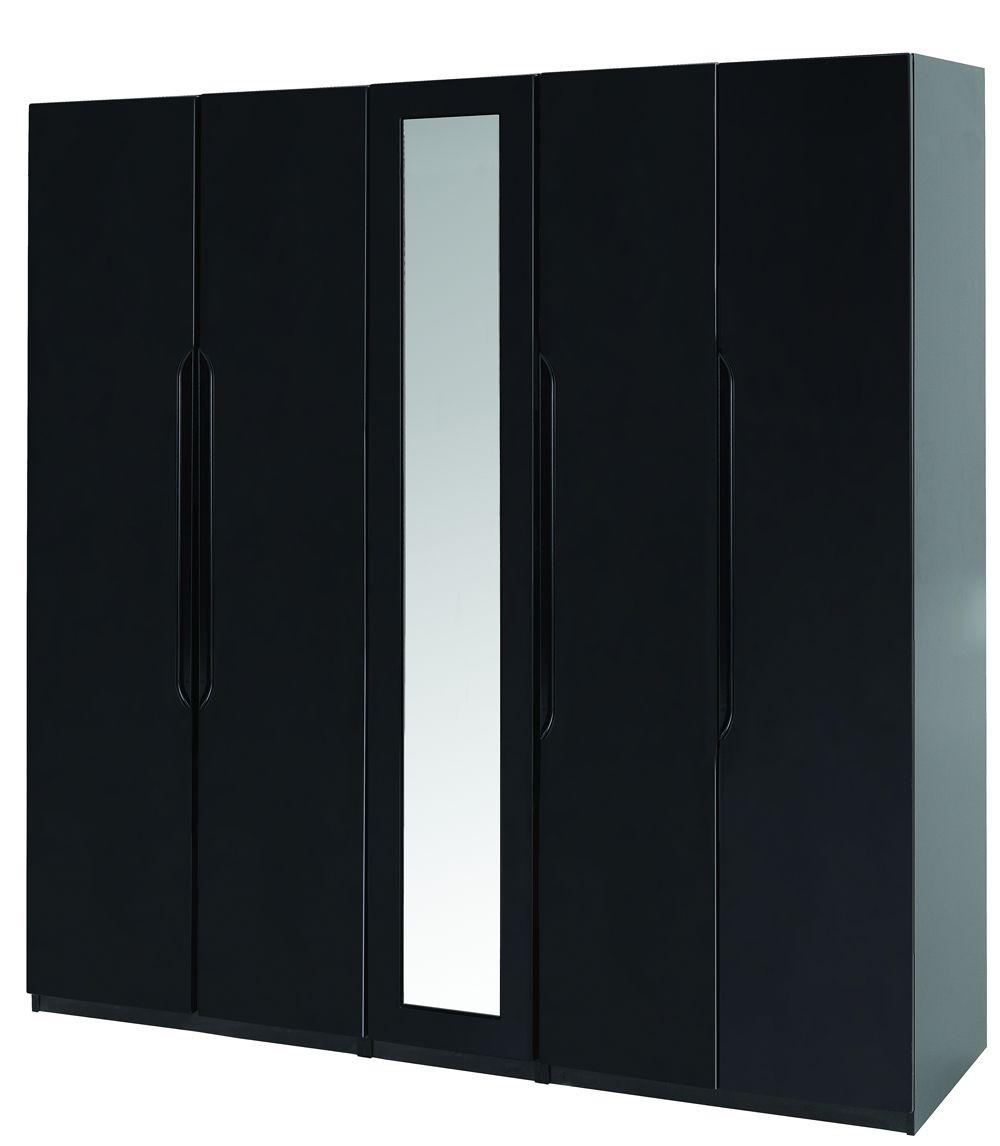 Orient Black Gloss Super Size 5 Door Robe With Mirror